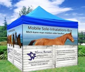 Sole-Zelt-Box mit bedruckten hochwertigen Windschutznetzen